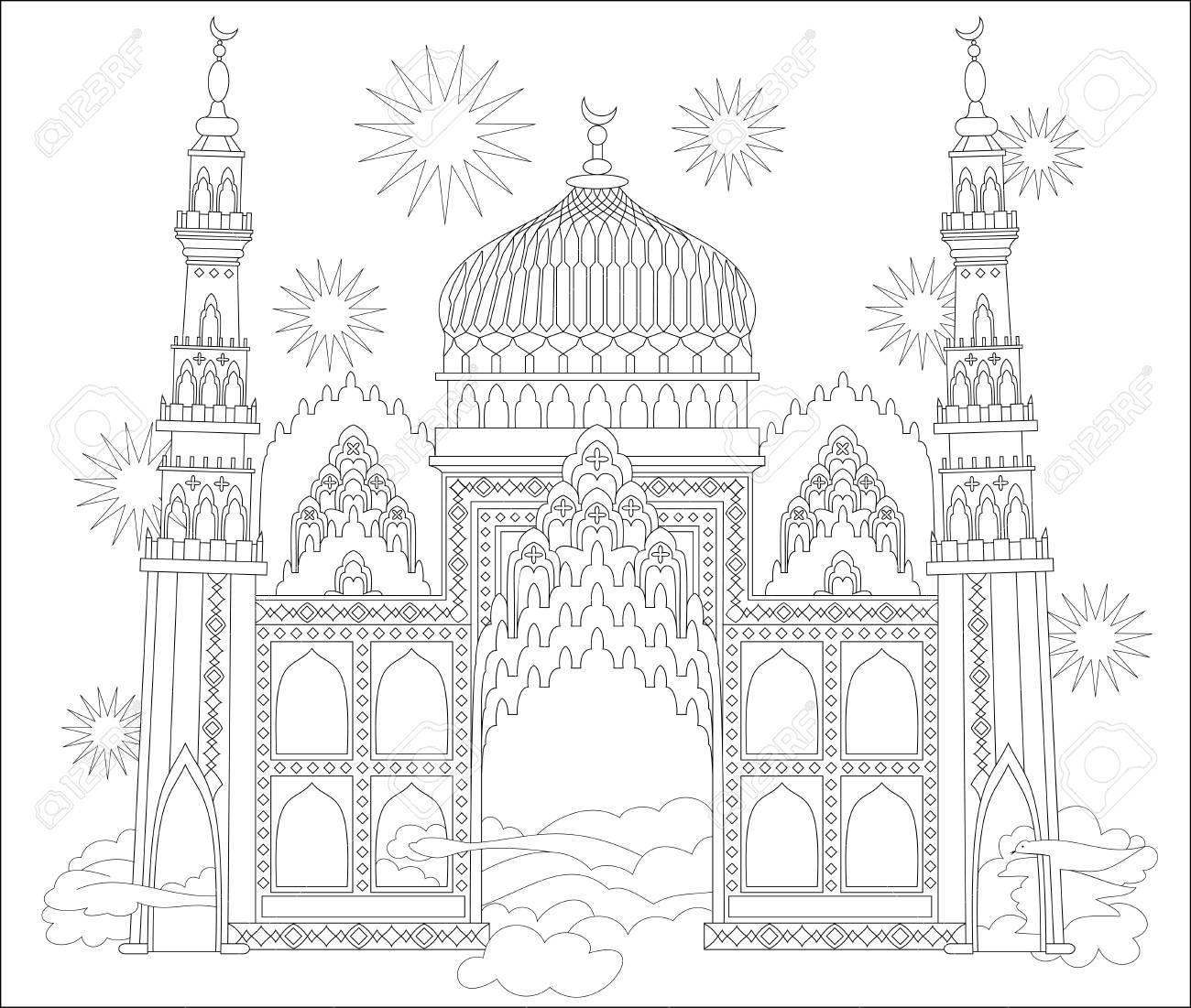 Schwarz-Weiß-Seite Zum Ausmalen. Fantastisches Arabisches Schloss ...