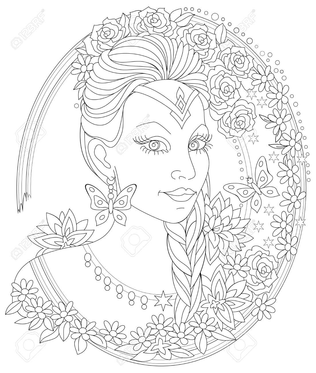 Página En Blanco Y Negro Para Colorear. Retrato De Fantasía De Mujer ...