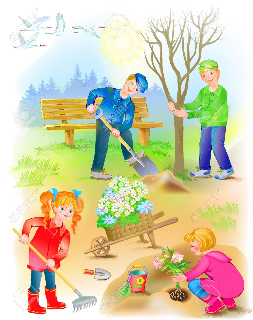 Illustration Of Children Working In The Spring Garden Image