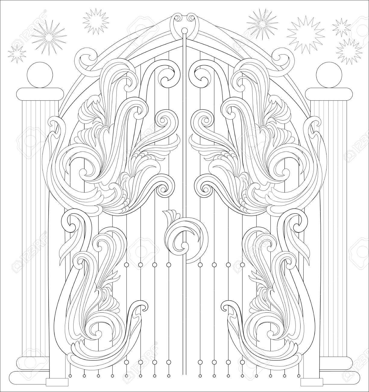 Página En Blanco Y Negro Para Colorear Fantástico Dibujo De Puerta De Un Cuento De Hadas Hoja De Trabajo Para Niños Y Adultos Imagen Vectorial
