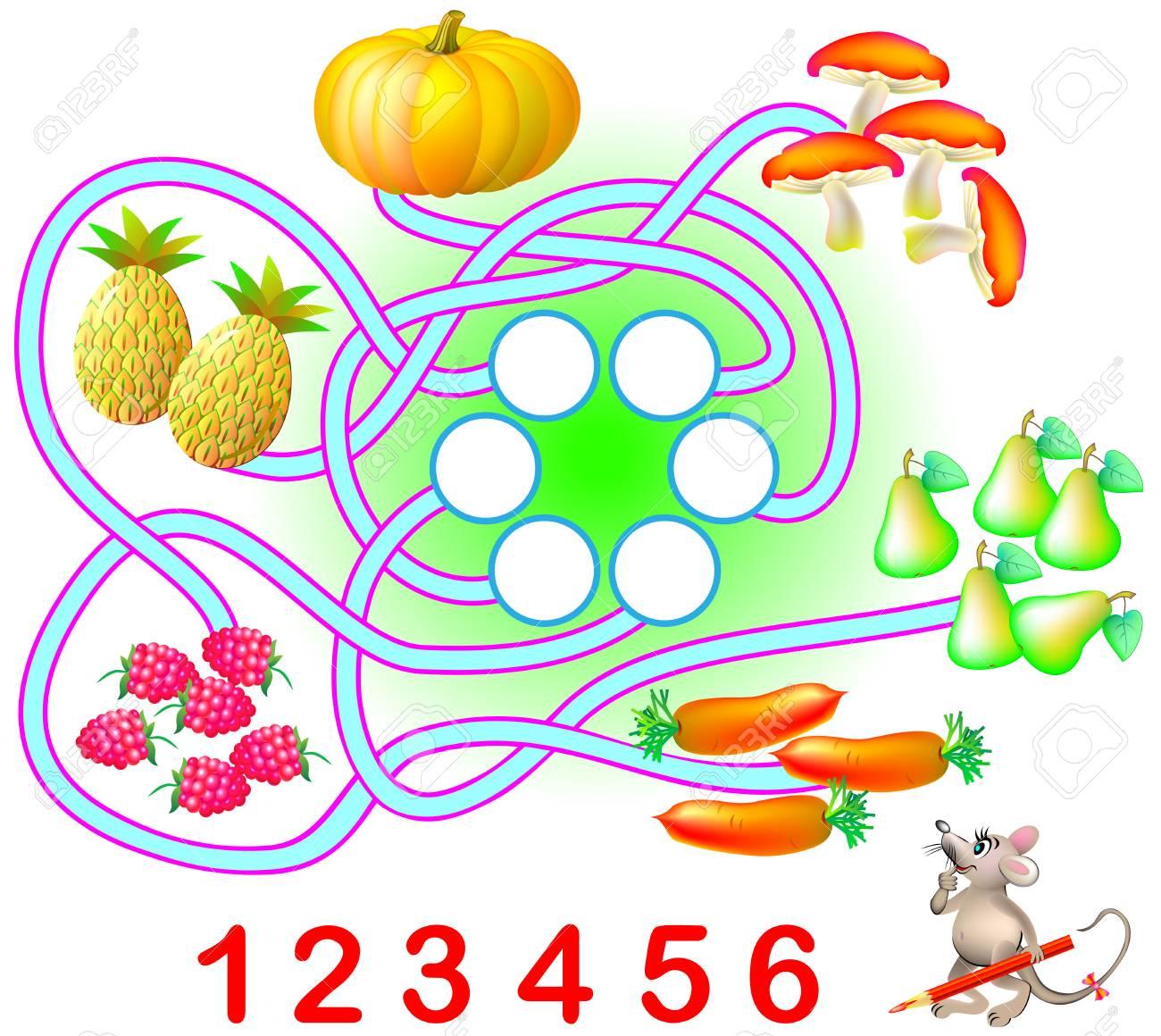 Esercizio Logico Per Bambini Piccoli è Necessario Contare La Quantità Di Ciascun Prodotto E Scrivere I Numeri Corrispondenti In Cerchi Immagine