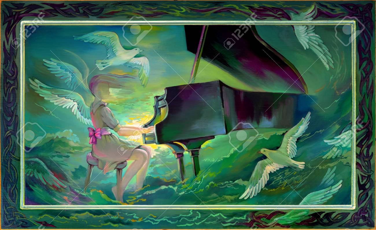 Concerto for Orchestra and Sea. Portrait of beautiful girl playing the piano in the fantasy environment.Oil painting on wood. - 92983458