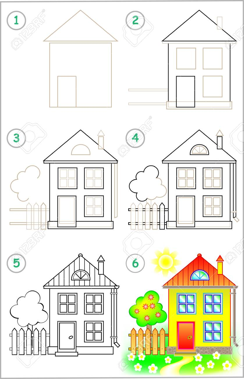 Page shows how to learn step by step to draw a house developing children skills