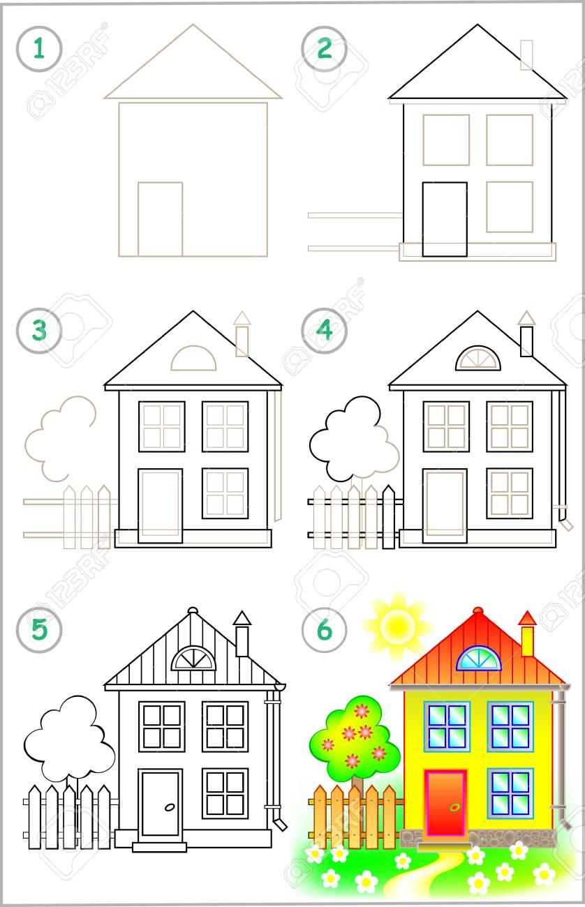 Seite Zeigt Wie Man Schritt Fur Schritt Lernt Ein Haus Zu Zeichnen