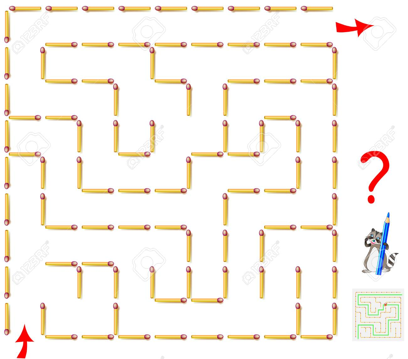 Logic Puzzle Game With Labyrinth Need To Remove One Matchstick Diagram Games And Find The Way From