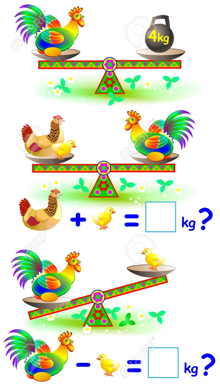 Page With Mathematical Exercises For Young Children. Vector Cartoon ...