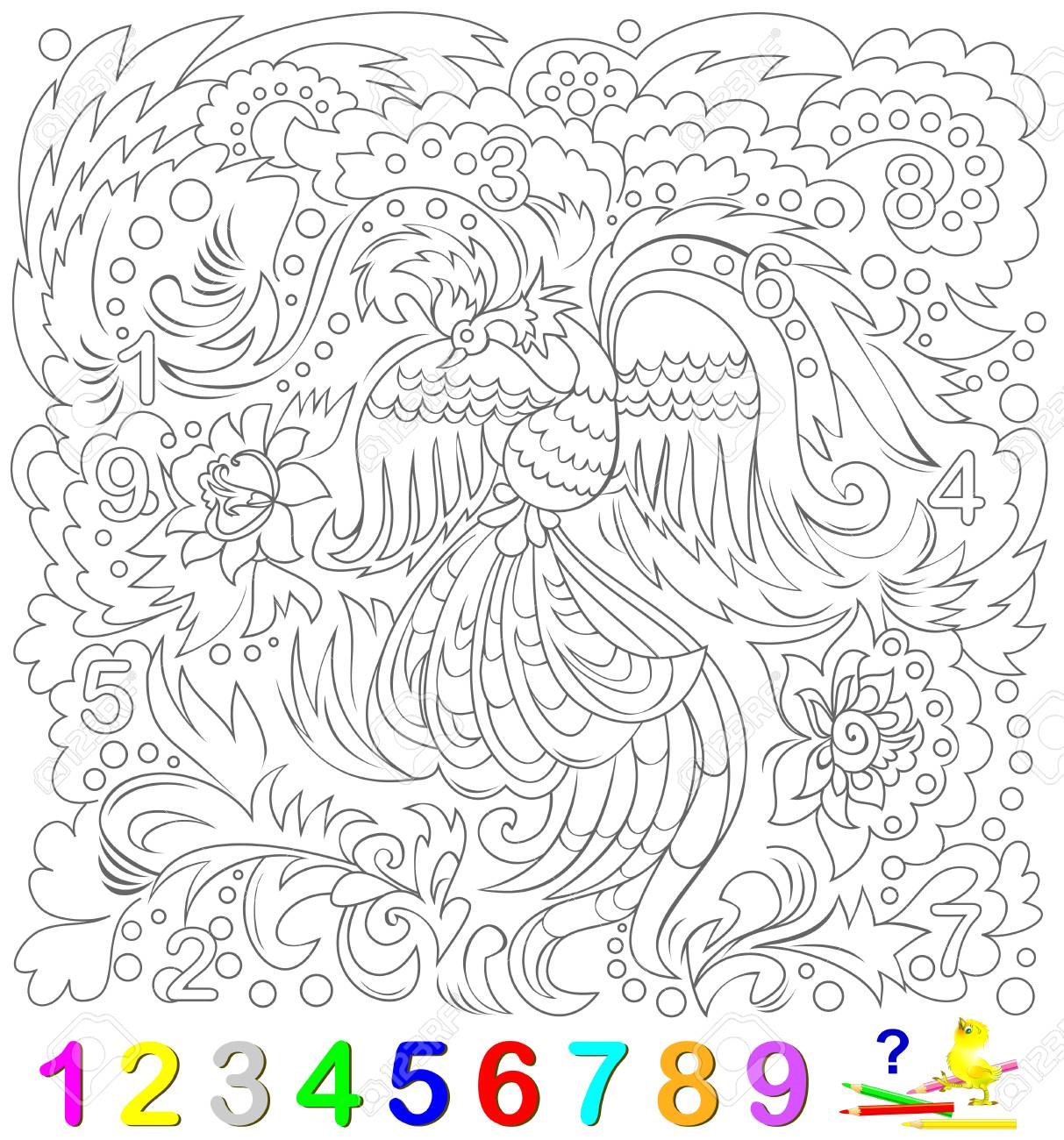 Educational Page For Young Children Find The Numbers Hidden In Picture And Paint Them