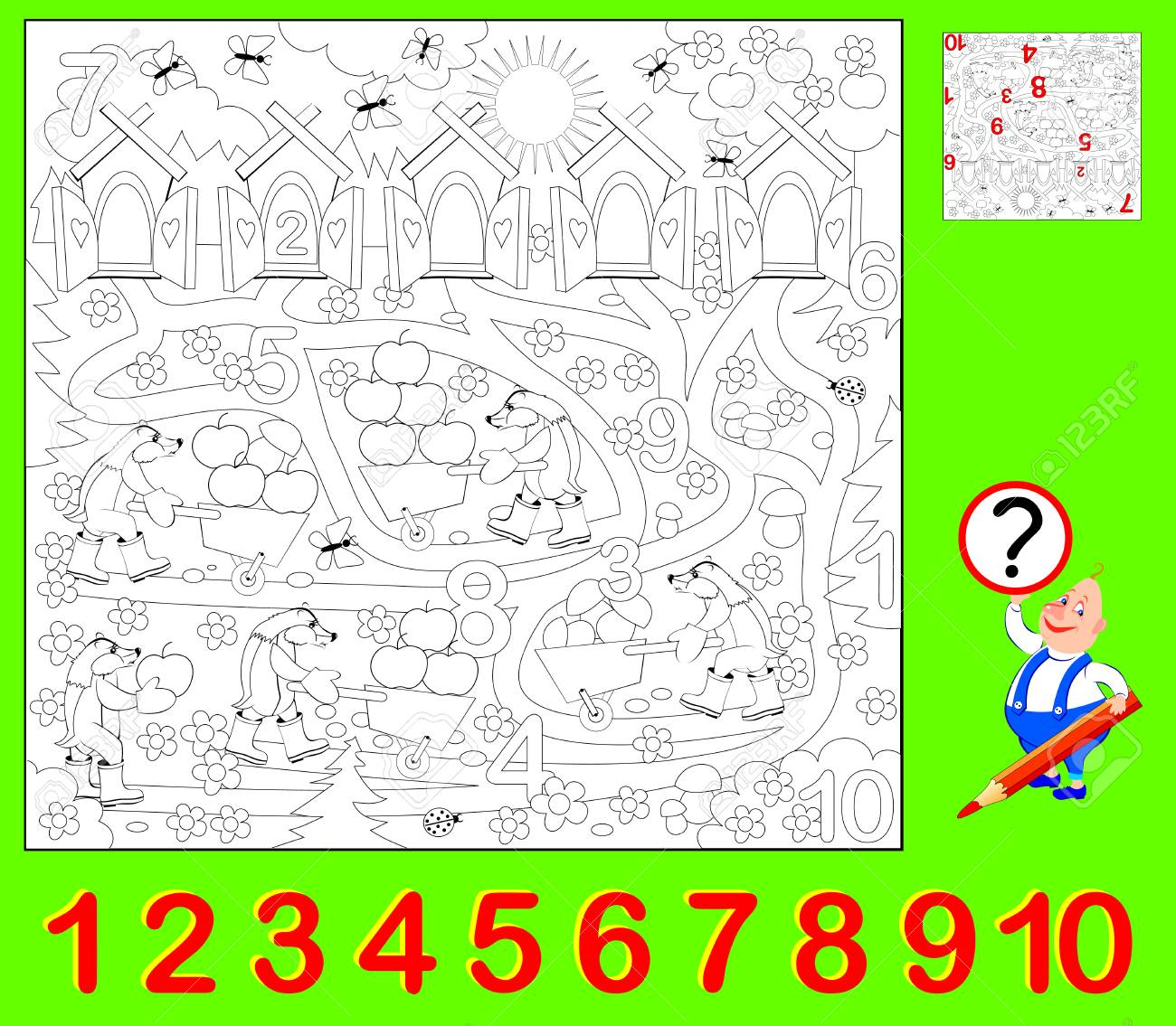 Educational Page For Young Children Need To Find The Hidden Numbers And Paint Them