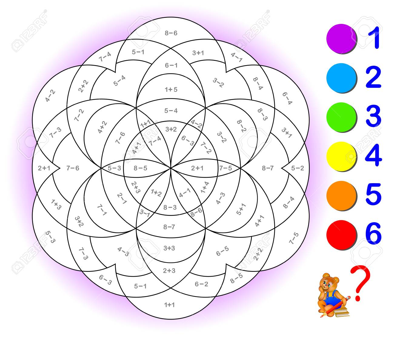 Educational page with exercises for children on addition and subtraction. - 98583469