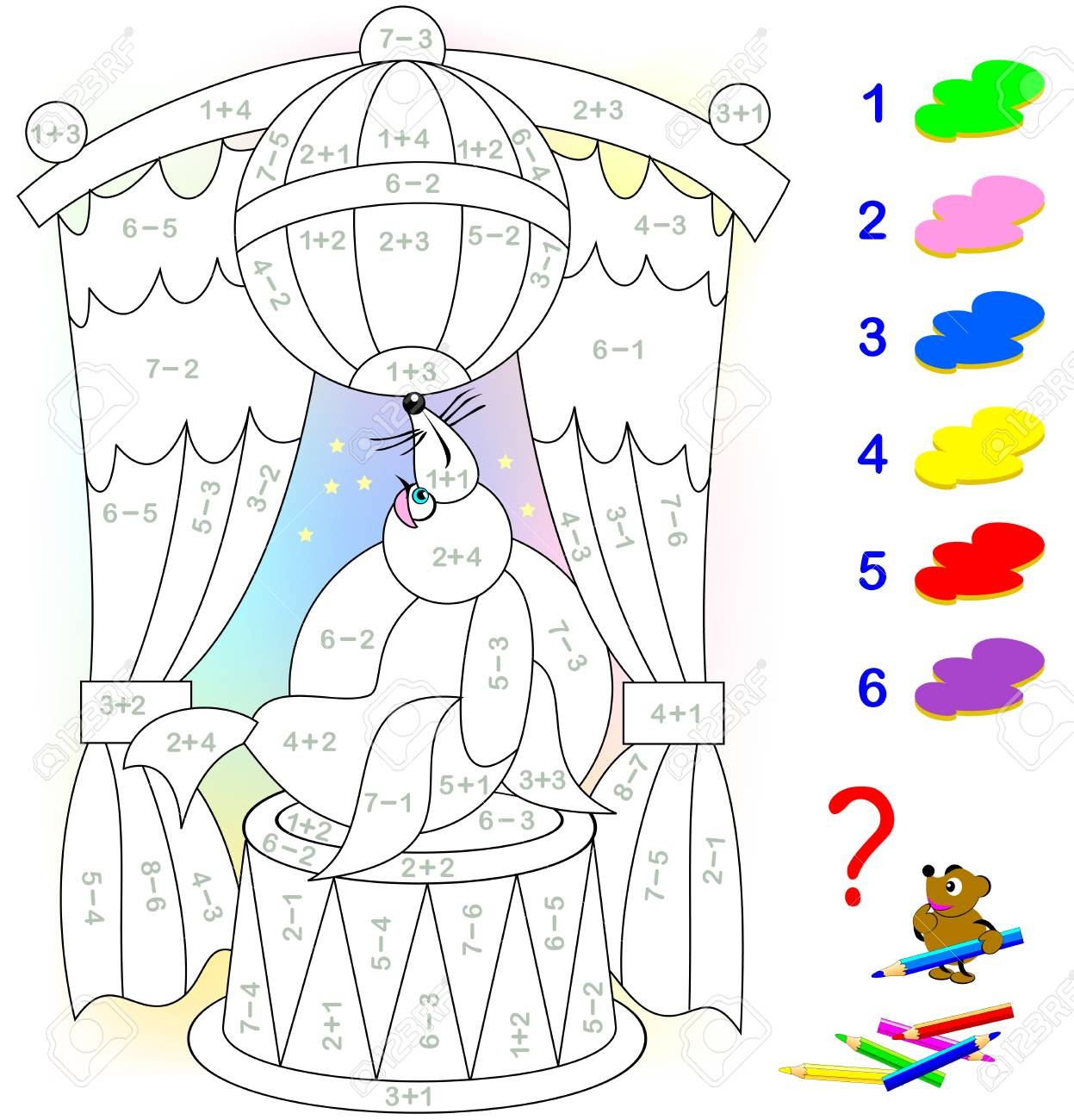 Educational page with exercises for children on addition and subtraction. Need to solve examples and to paint the image in relevant colors. Developing skills for counting. Vector image. - 103012045