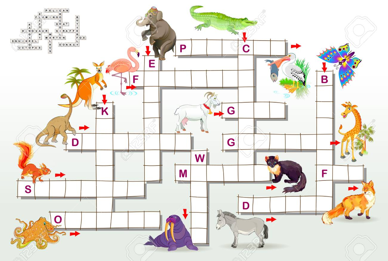 Crossword Puzzle Game With Funny Animals Educational Page For Royalty Free Cliparts Vectors And Stock Illustration Image 112853754