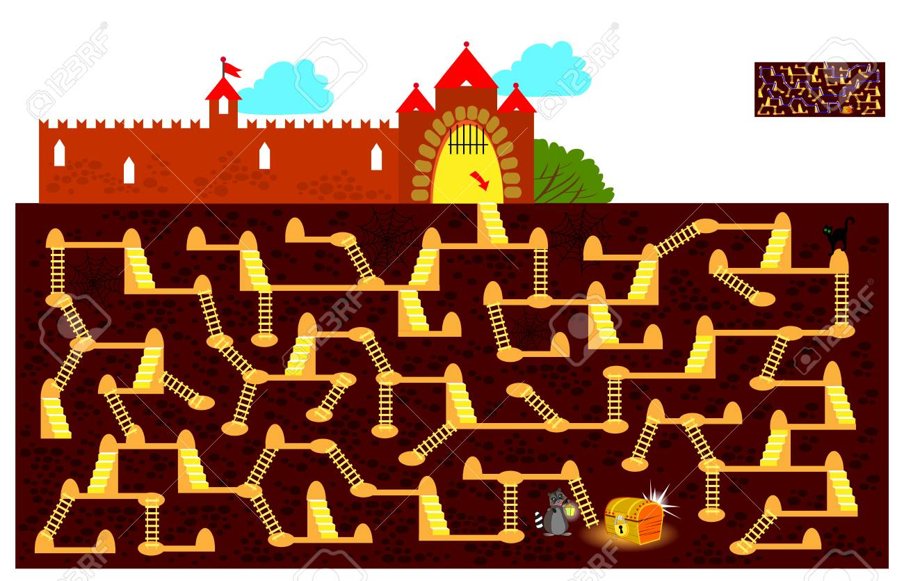 Logic puzzle game with labyrinth for children and adults. Find the way underground to the hidden treasure chest and draw the line. Vector cartoon image. - 112853773