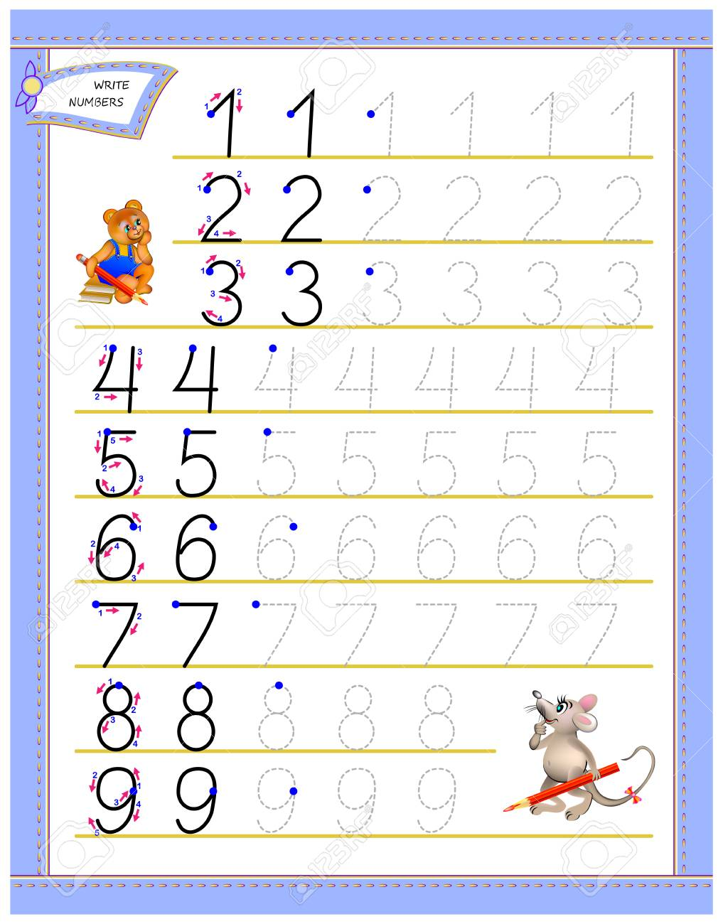 Educational page for children to study writing numbers. Worksheet..