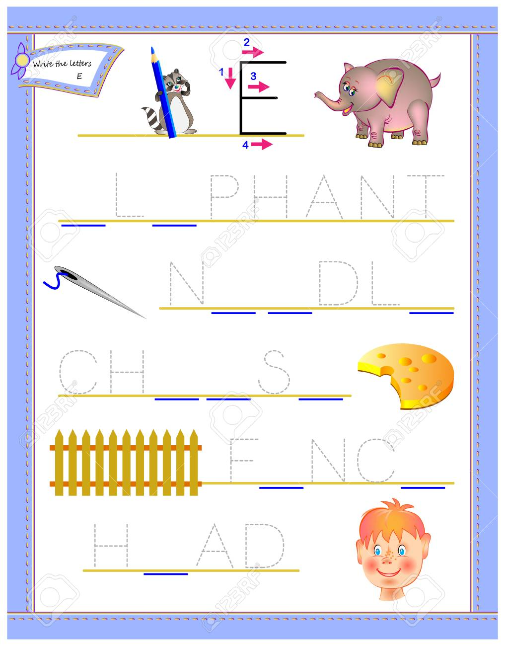 Tracing Letter E For Study English Alphabet Printable Worksheet