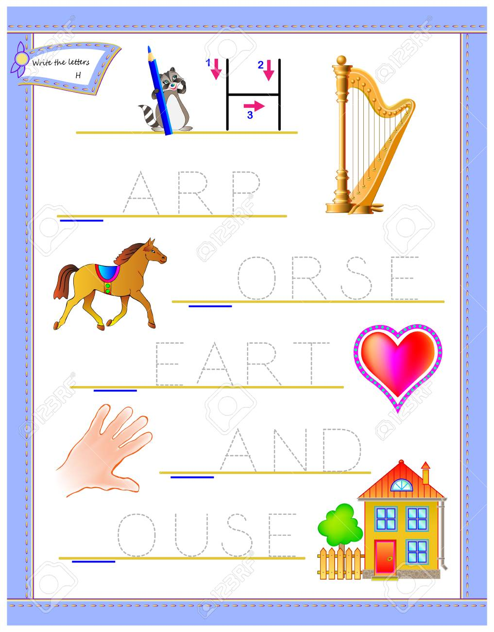 photo relating to Logic Puzzles Printable Worksheets named Tracing letter H for analysis English alphabet. Printable worksheet..