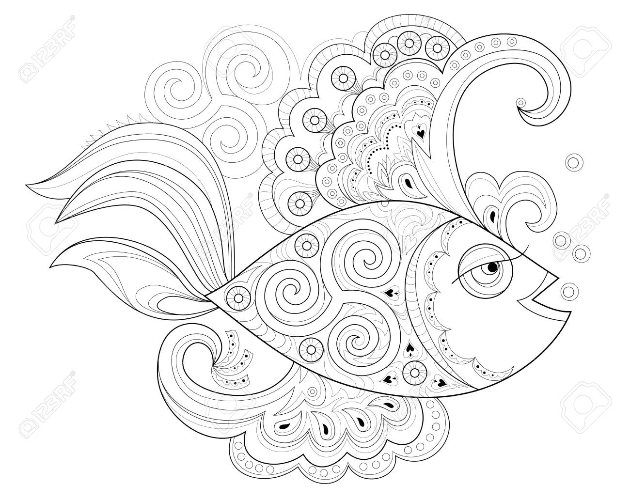 Black and white page for coloring book. Fantasy drawing of beautiful..