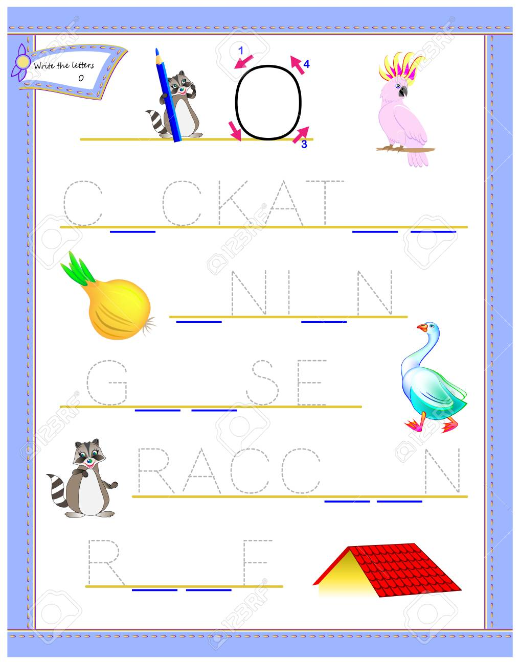 photograph about Logic Puzzles for Kids Printable known as Tracing letter O for analyze English alphabet. Printable worksheet..