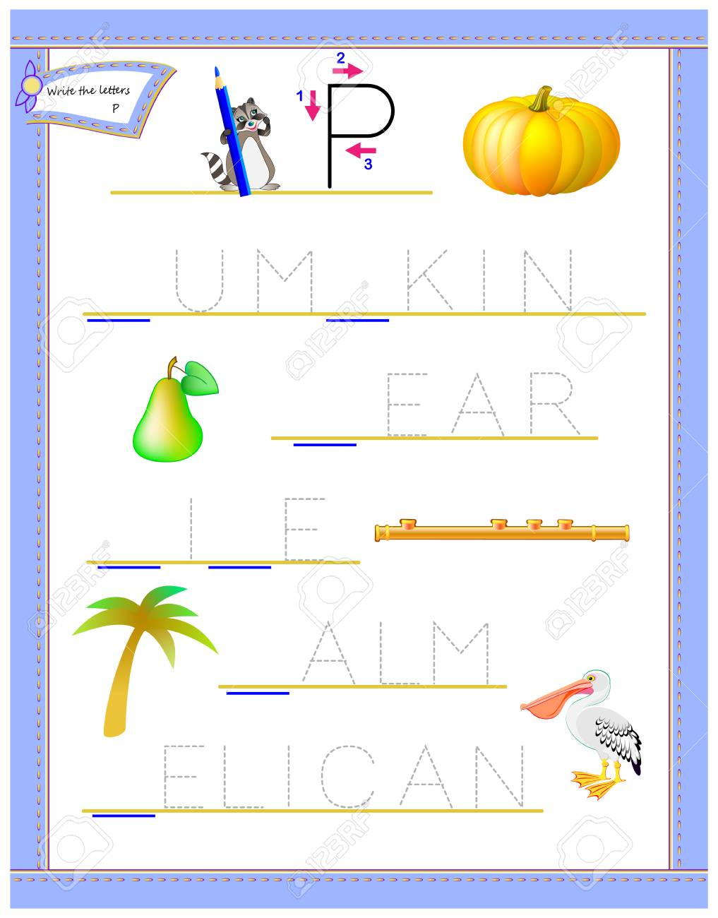 photo relating to Letter P Printable named Tracing letter P for review English alphabet. Printable worksheet..