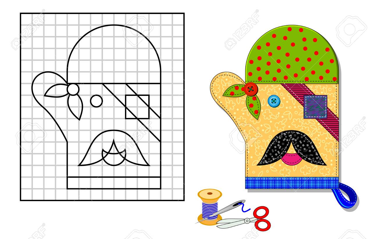 graphic regarding Printable Mitten Pattern named Printable template with routine of kitchen area mitten. Portrait of..