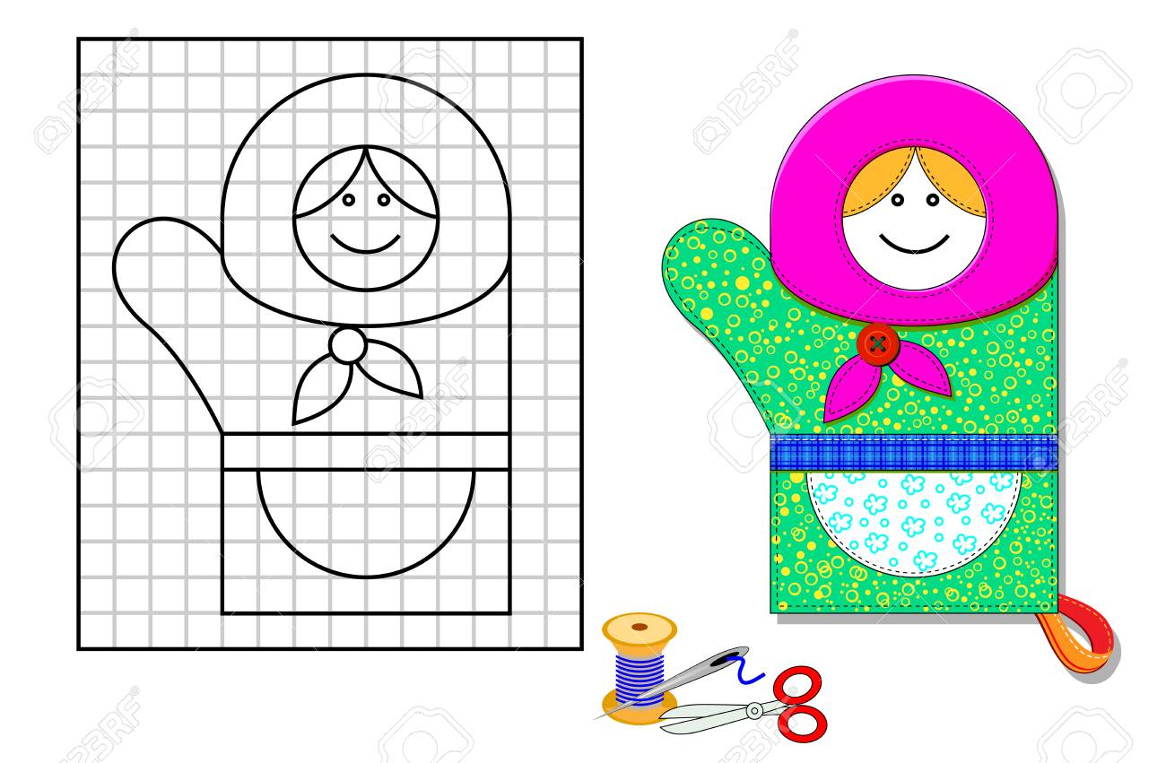 image relating to Mitten Template Printable named Printable template with habit of kitchen area mitten. Portrait of..