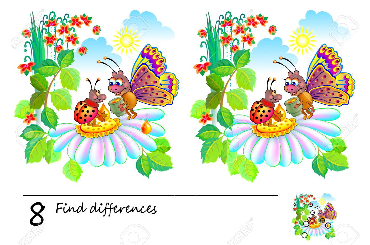 graphic about Find the Differences Printable called Logic puzzle sport for youngsters and older people. Require in direction of track down 8 dissimilarities