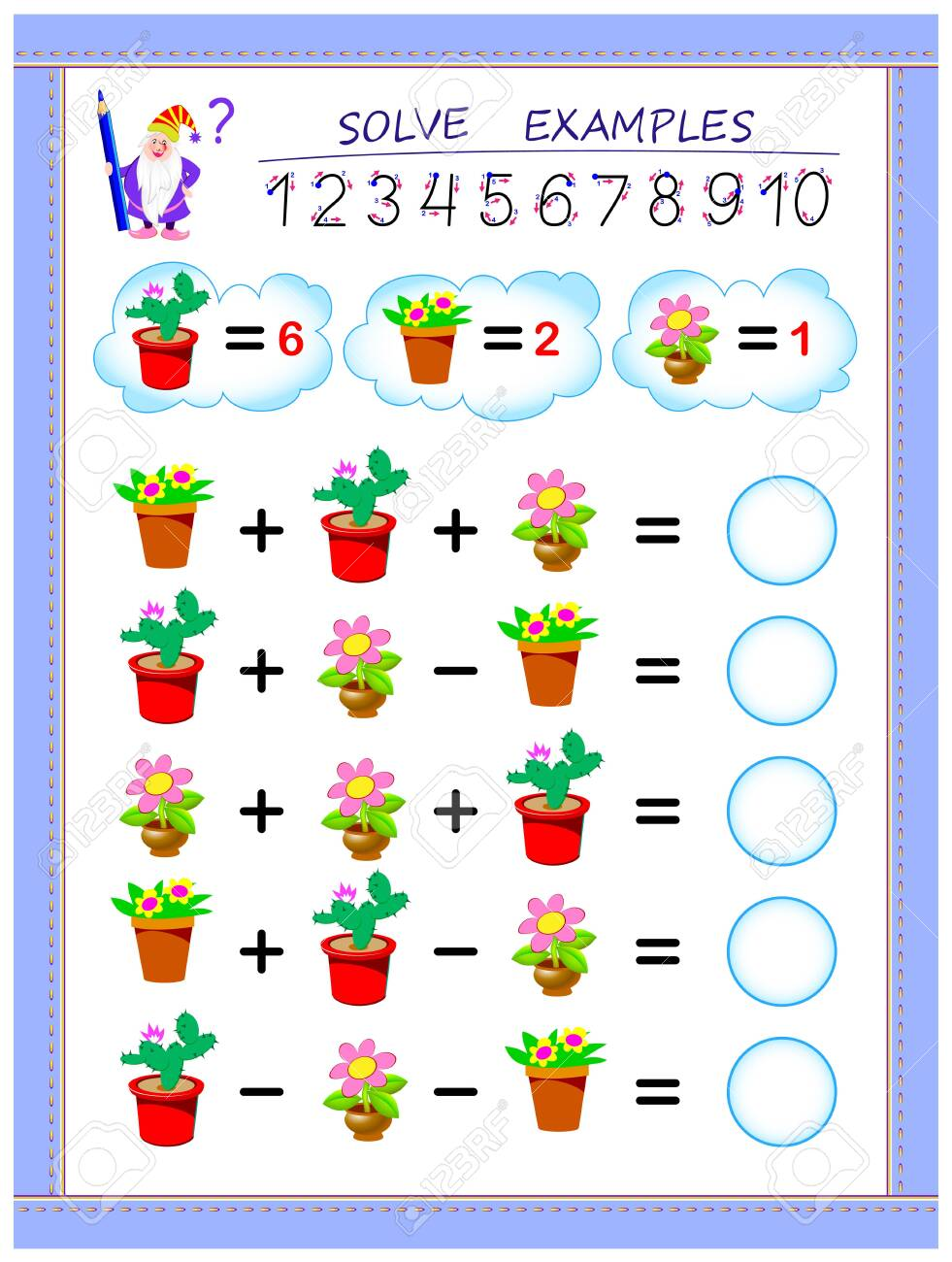 Educational page for children on addition and subtraction. Solve examples and write numbers in circles. Printable worksheet for kids textbook. Back to school. Vector cartoon image. - 128272426