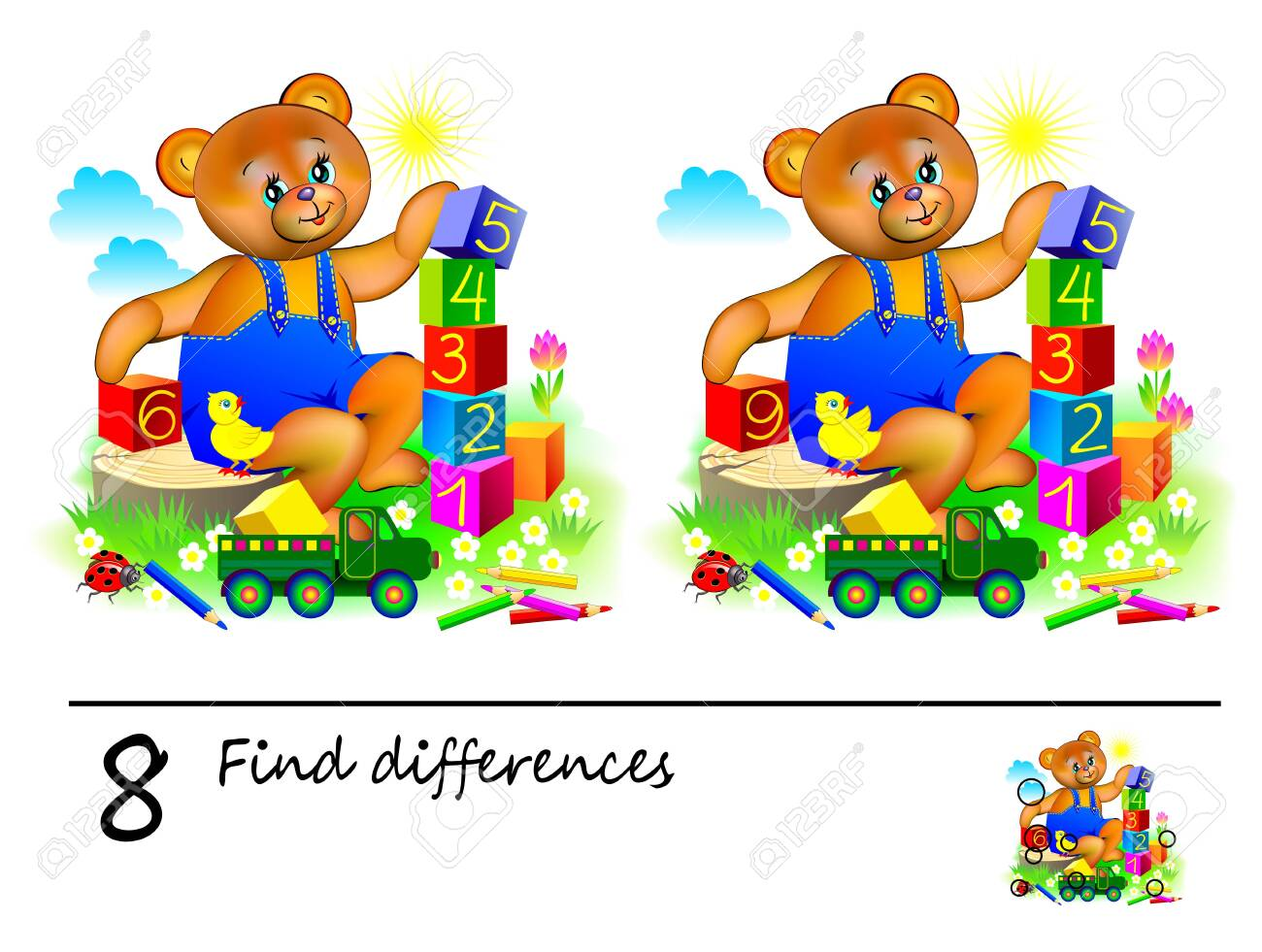 image relating to Find the Differences Printable identified as Logic puzzle sport for small children. Require in direction of identify 8 variances. Printable..