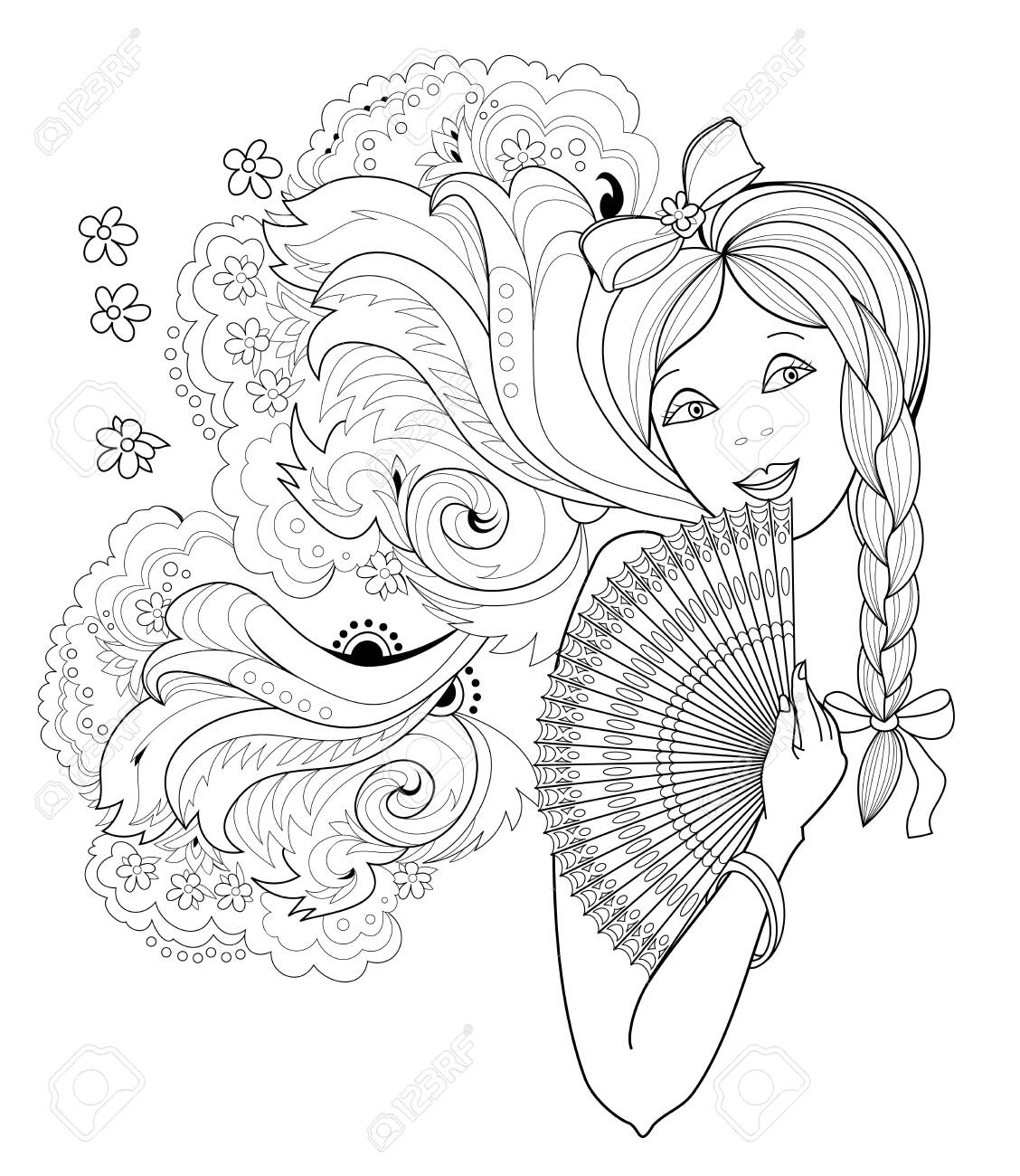 Black and white page for coloring book fantasy drawing of beautiful