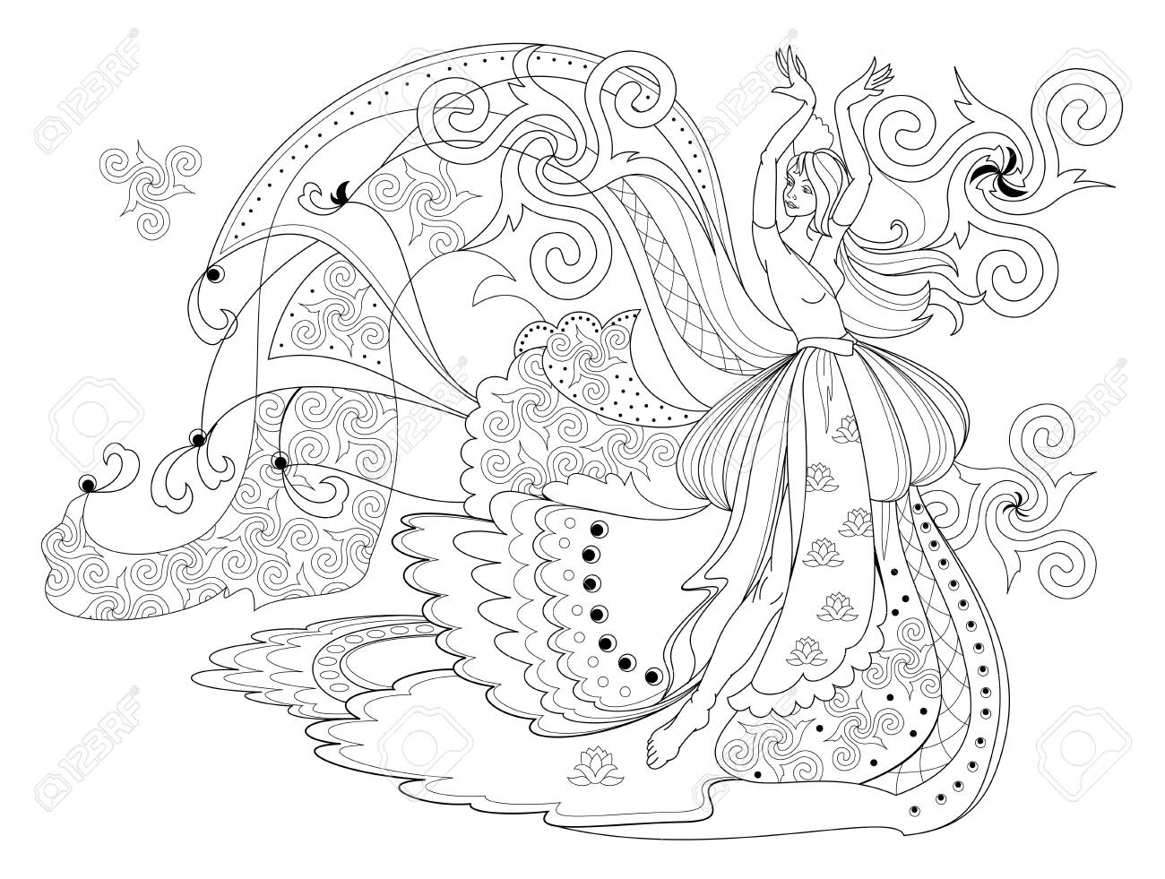 Black and white page for coloring book. Fantasy drawing of dancing..