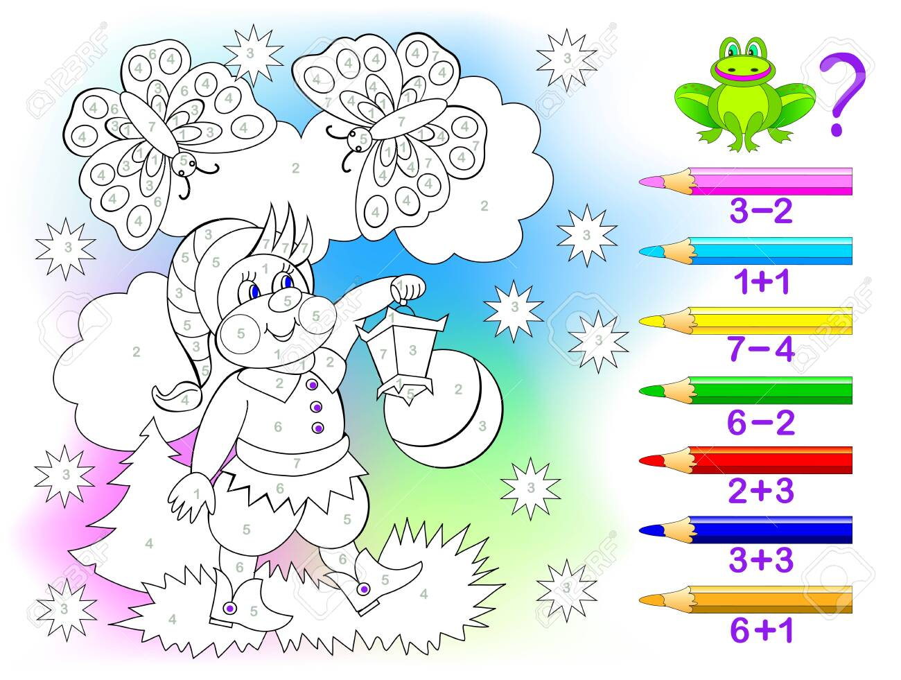 Educational page with exercises for children on addition and subtraction. Solve examples and paint the gnome in relevant colors. Developing skills for counting. Printable worksheet for kids textbook. - 128272852