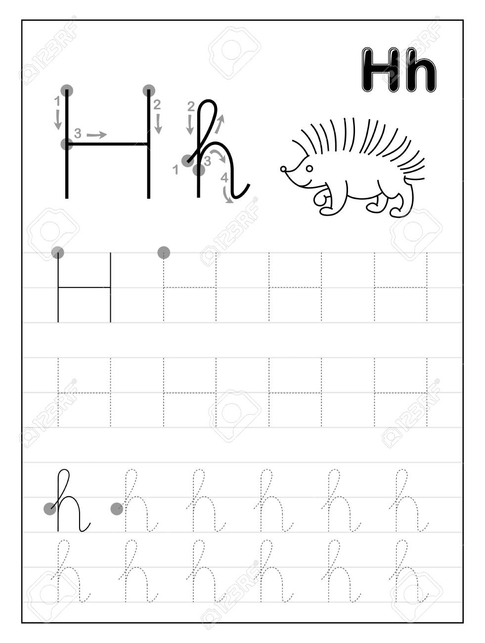- Tracing Alphabet Letter H. Black And White Educational Pages