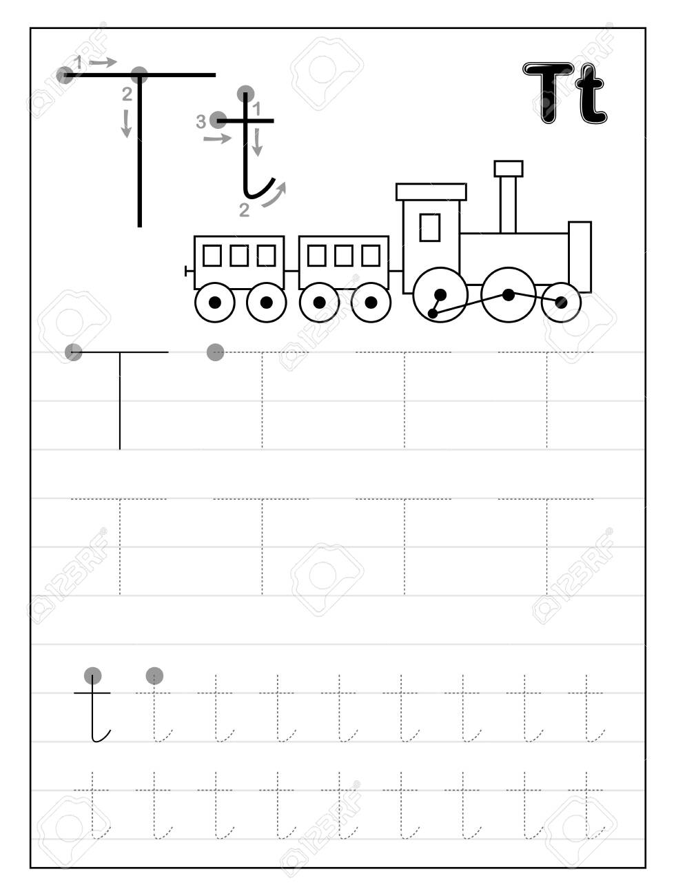 - Tracing Alphabet Letter T. Black And White Educational Pages