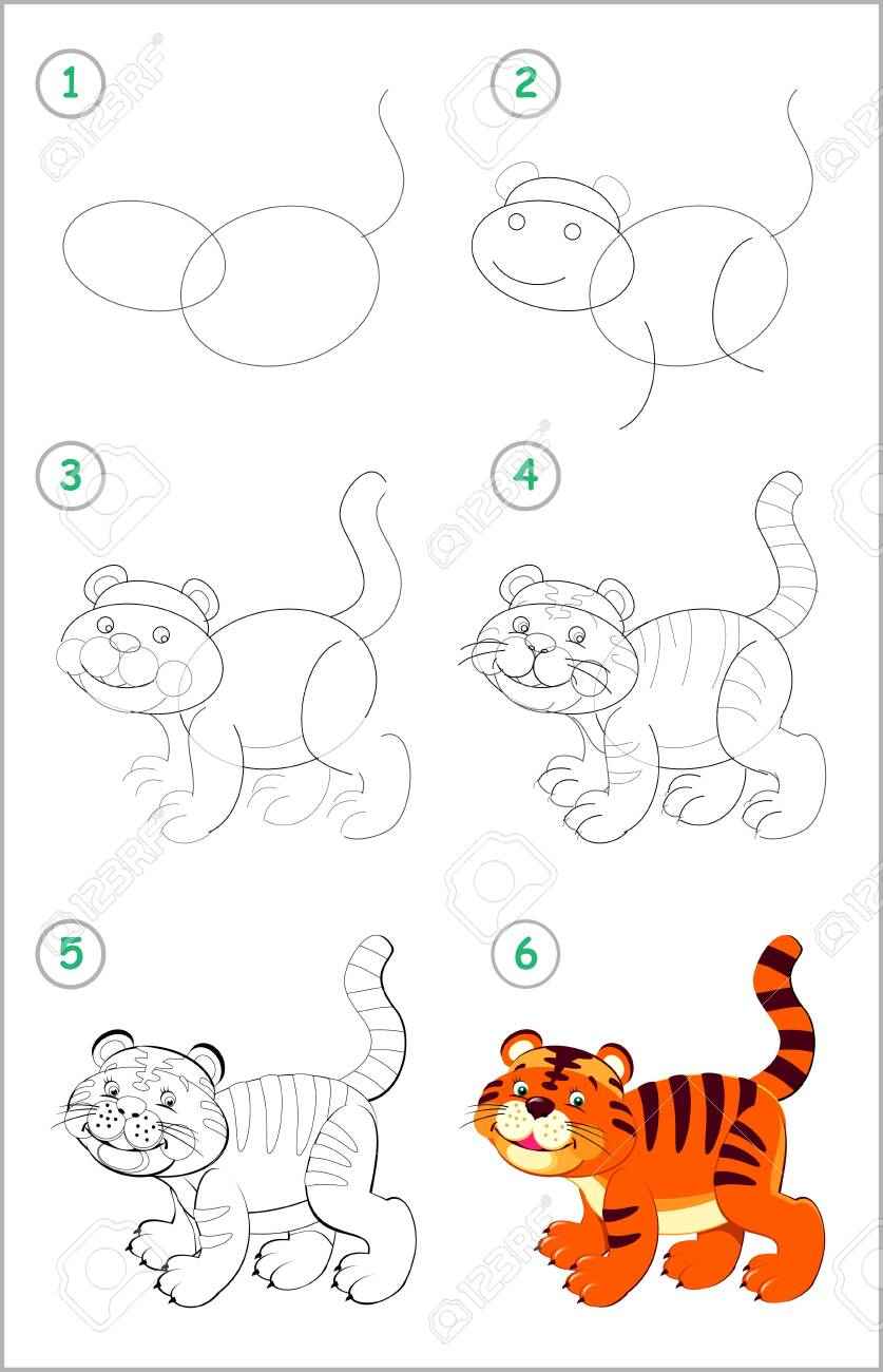 How To Draw Step By Step A Cute Little Toy Tiger Educational