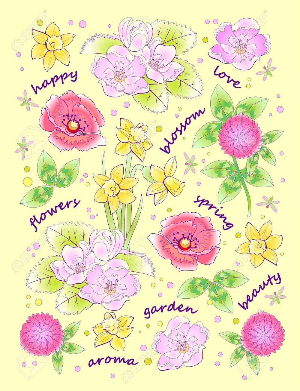 Fantasy background for modern print with beautiful spring flowers and lettering. Illustration with scattered plants for clothes and fabric. Vector cartoon image. - 150808014
