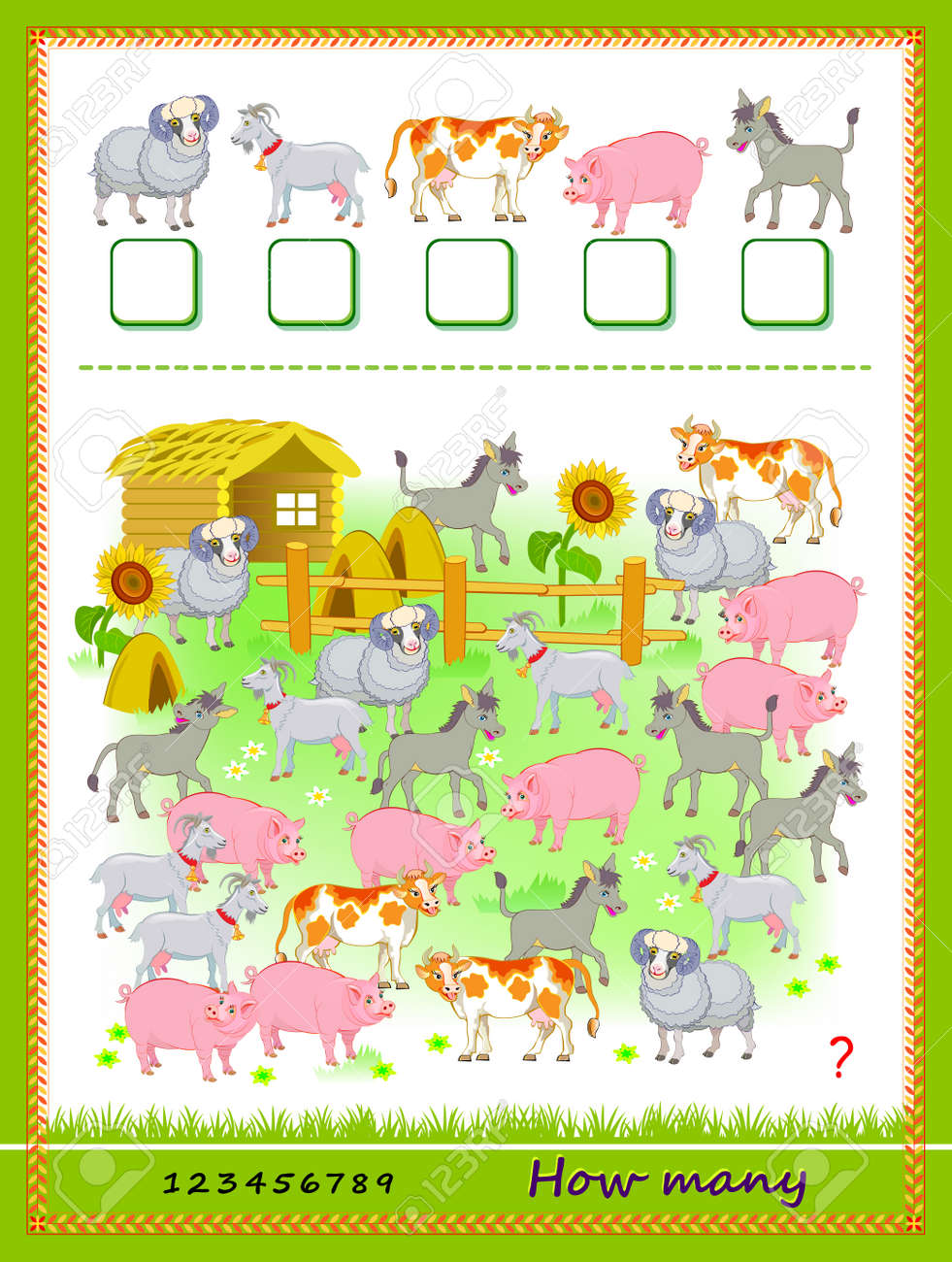 Math education for children. How many farm animals can you find? Count quantity and write the numbers. Developing counting skills. Logic puzzle game. Worksheet for kids school textbook. Play online. - 168449207