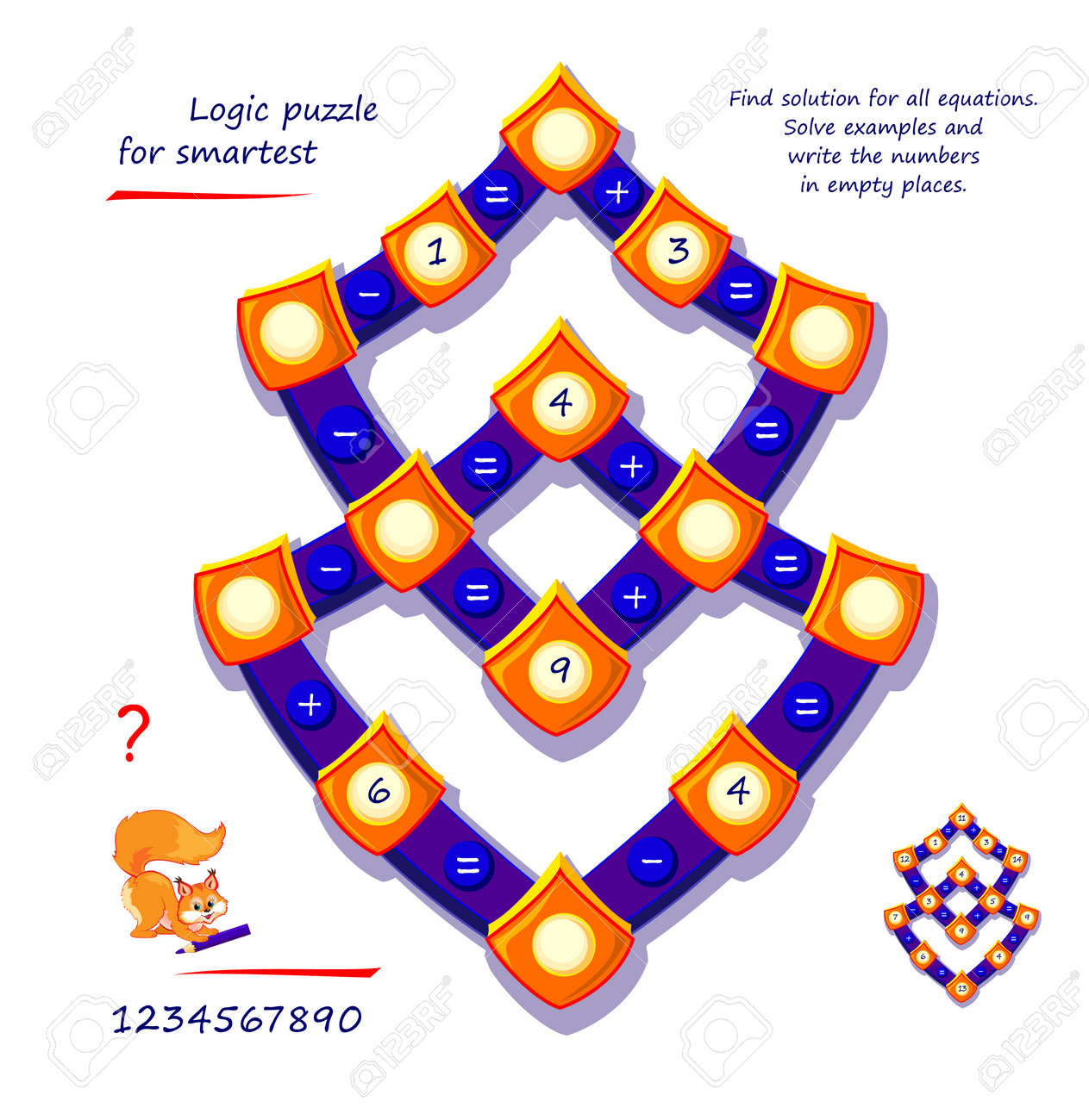 Mathematical logic puzzle game for smartest. Find solution for all equations. Solve examples and write numbers in empty places. Page for brain teaser book. Play online. Memory training for seniors. - 168449212
