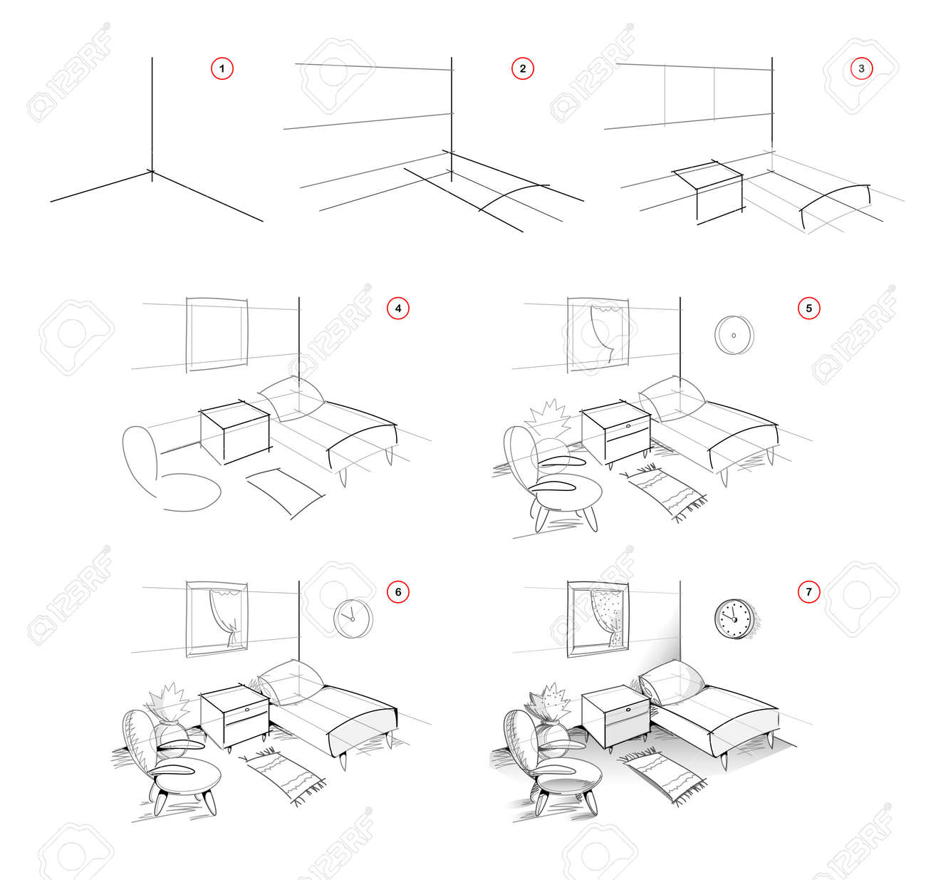 Page shows how to learn to draw sketch of interior bedroom. Creation step by step pencil drawing. Educational page for artists. Textbook for developing artistic skills. Online education. - 170073892