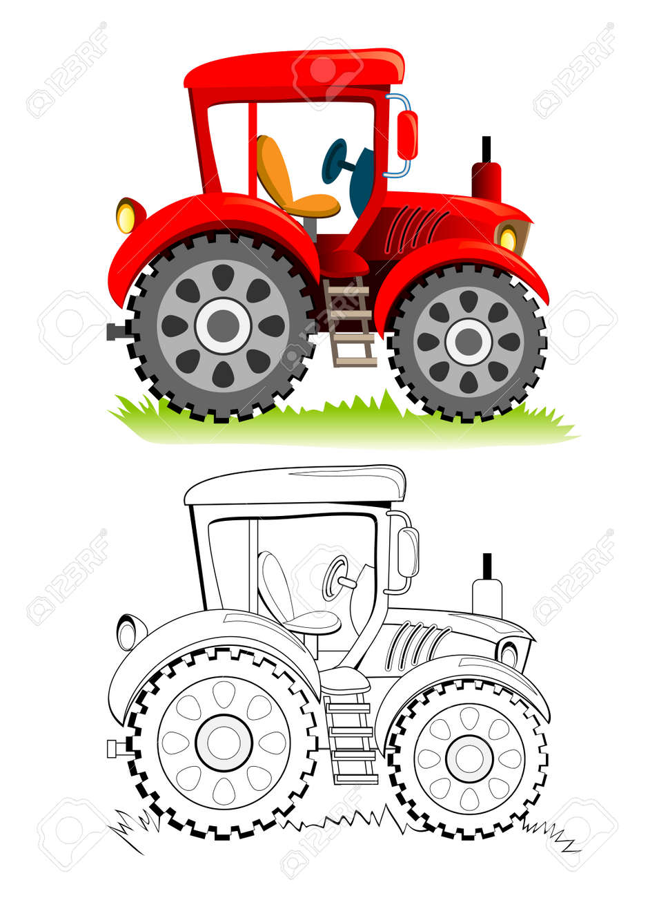 Colorful and black and white template for coloring. Cute toy tractor model. Illustration for boys. Worksheet for kids. Coloring book for children and adults. Flat cartoon vector. - 170074308