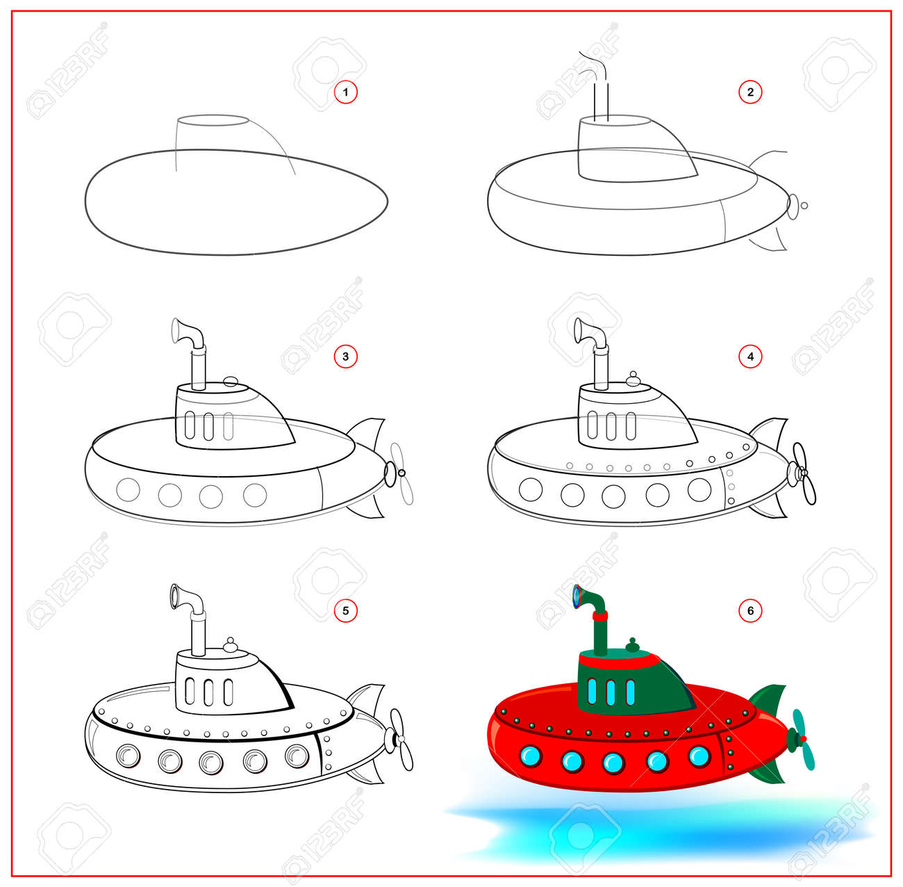Page shows how to learn to draw step by step toy submarine. Developing children skills for drawing and coloring. Printable worksheet for kids school exercise book. Flat vector illustration. - 170074249
