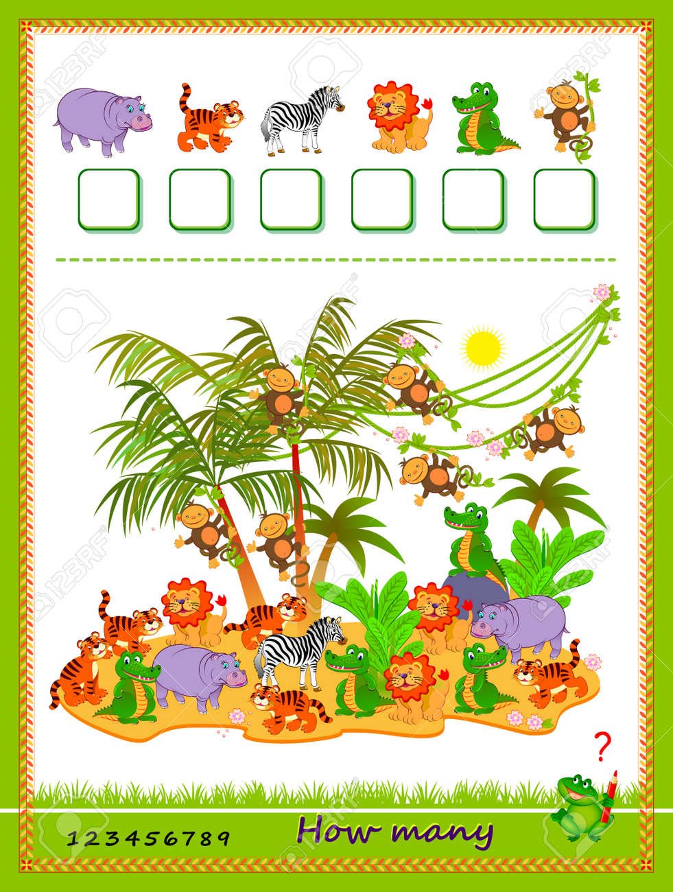 Math education for children. How many farm animals can you find? Count quantity and write the numbers. Developing counting skills. Logic puzzle game. Worksheet for kids school textbook. Play online. - 171719258