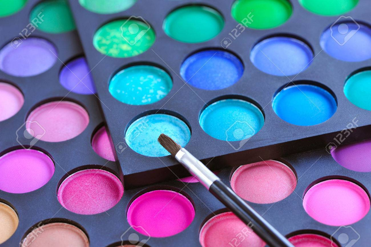 bb121dd054 Professional eye shadows palette with makeup brush. Makeup background Stock  Photo - 38770154