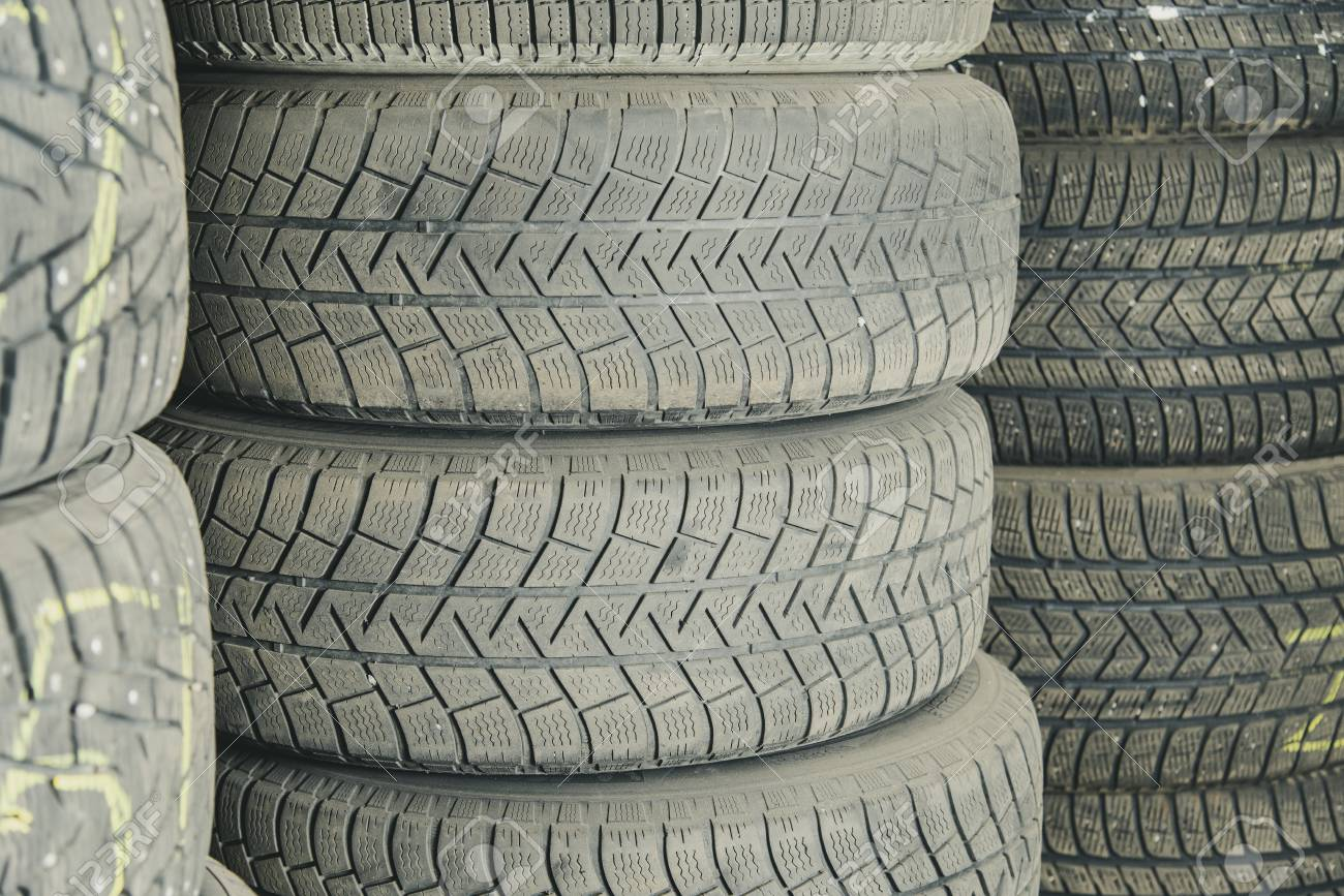 Used Car Tires >> Old And Used Car Tires Background Car Tires In Storage Car