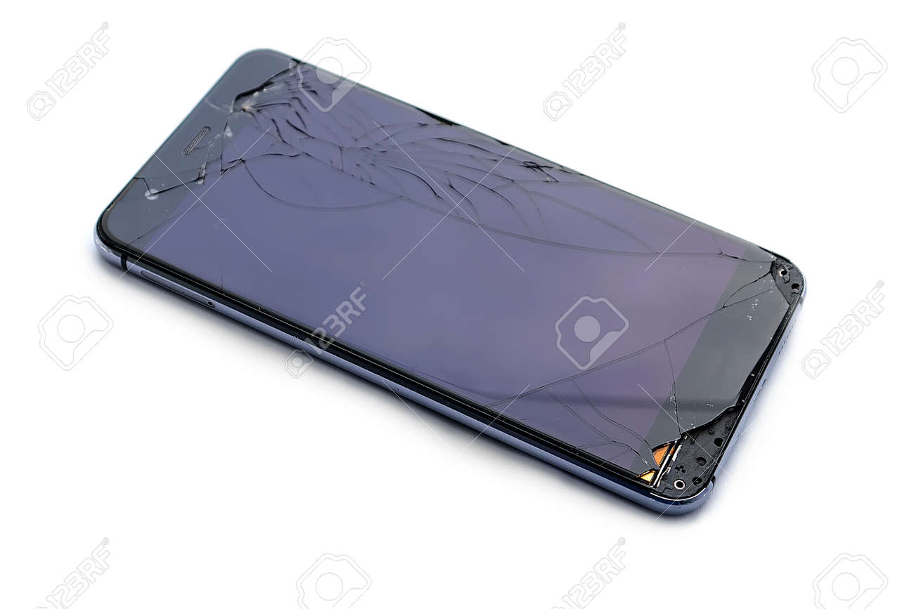Broken touchscreen smart phone. isolate on white background. Mobile phone broken. The phone crashed. Replacing broken glass on a cell phone. Smartphone repair. - 155073686