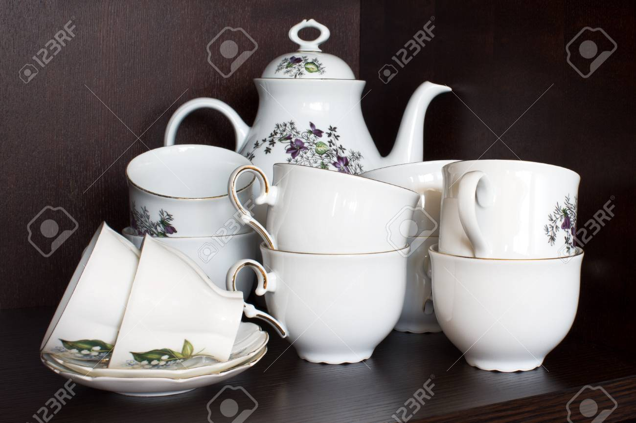 Clean dishes, clean cups in the cupboard Stock Photo - 13245721