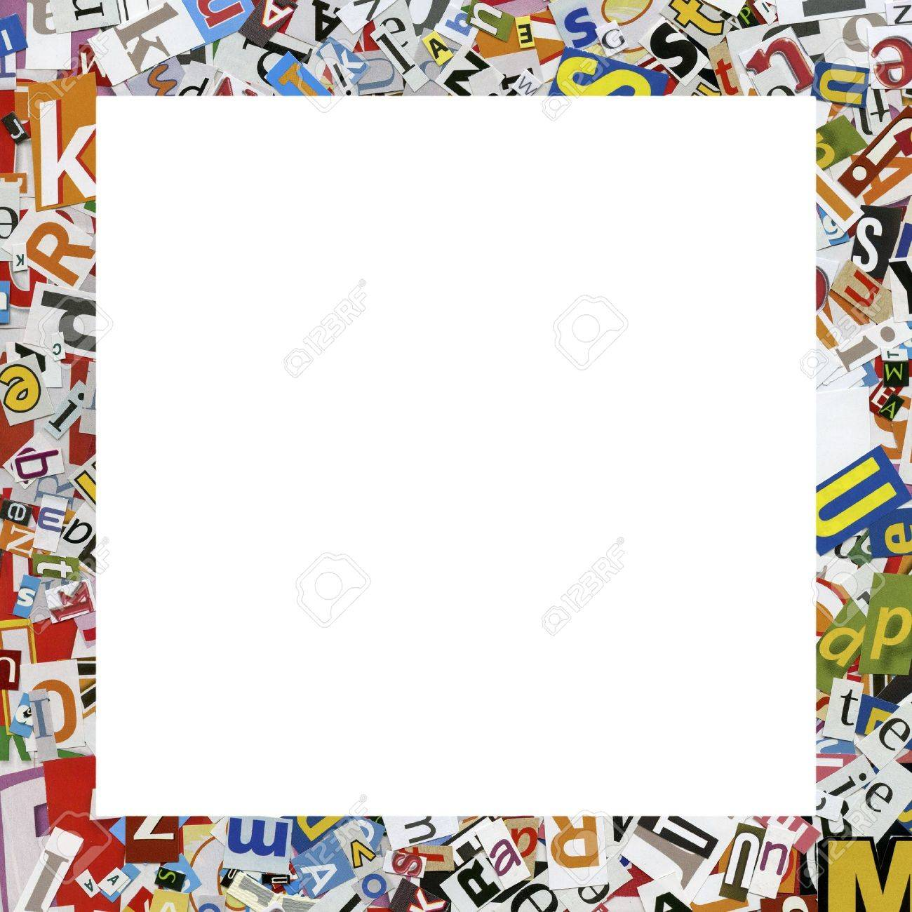 Designed Frame. Collage Made Of Newspaper Clippings. Stock Photo ...