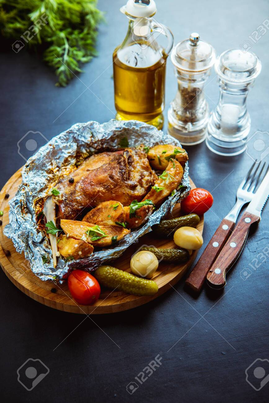 fake baked rabbit with potatoes - 136325107