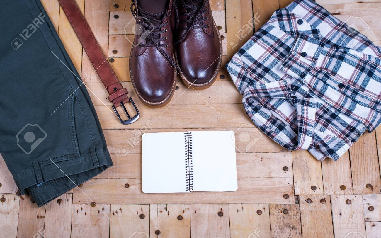 men's stylish winter clothes and Blank white notebook . winter fashion - 135094225