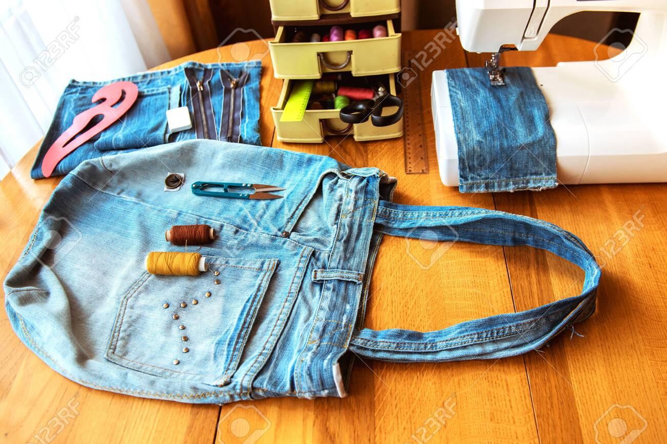 denim bag, handmade, sewing accessories - 146573596