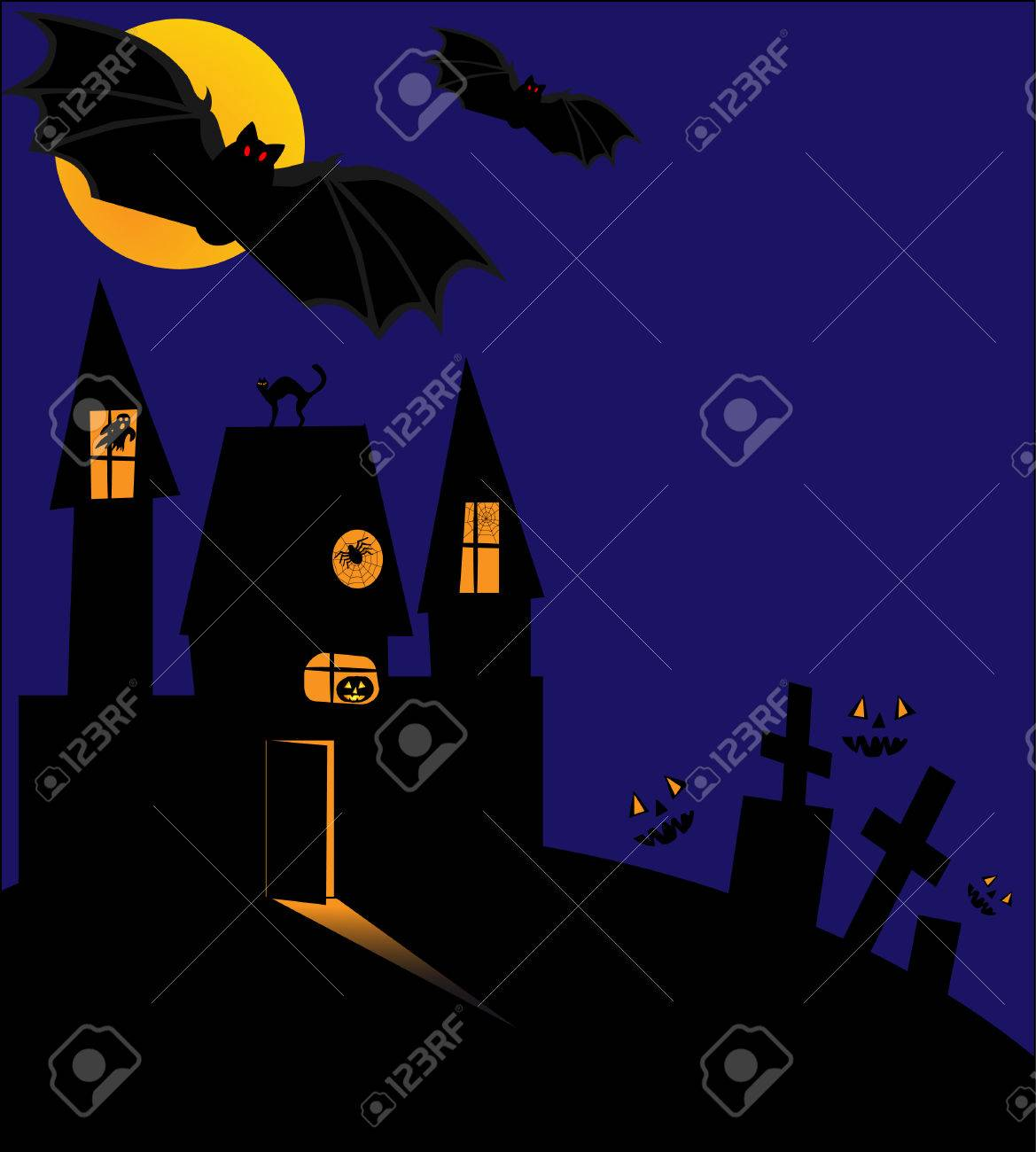Scary Halloween night  The castle, cemetery, grave, bat on background