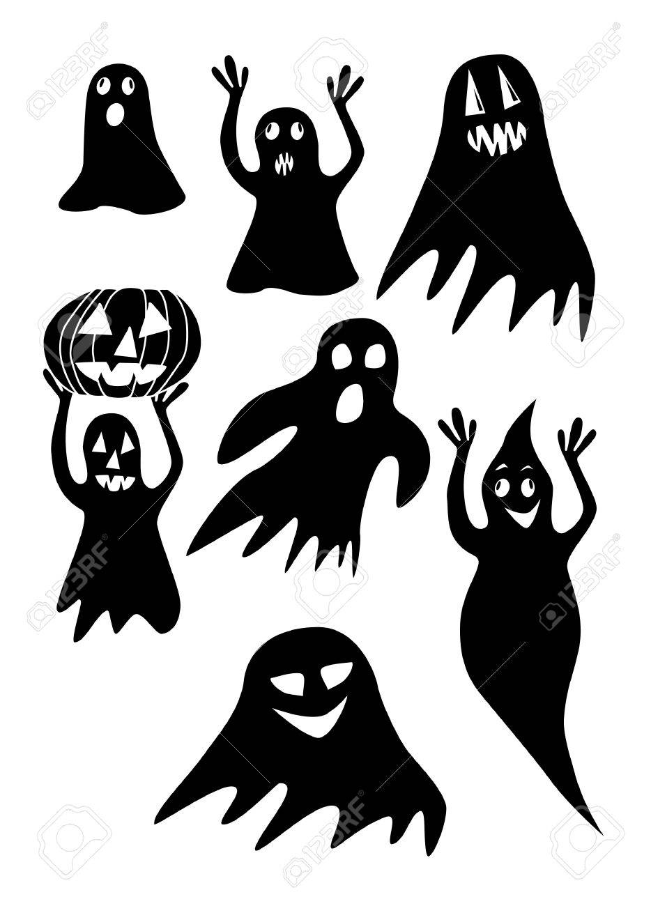 The collection of black halloween ghosts on a white background Stock Vector - 10959822